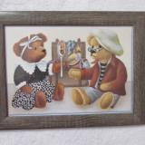 Tablou mare ursuleti plus decoratiune camera copiilor rama lemn home decor NOU