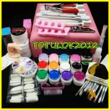 kit unghii false cu gel set manichiura lampa uv  12 geluri color