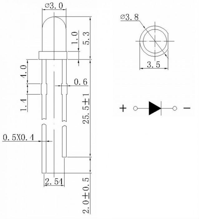 LED 3mm rotund ROSU capsula transparenta 1.9-2.0V