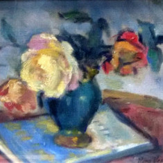 VERA VESLOVSCHI - NIŢESCU, Vas cu flori - Pictor roman