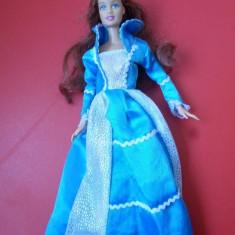 Papusa barbie mattel roscata cu rochie albastra b17, Plastic