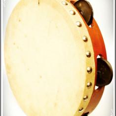 TAMBURINĂ AUTENTICĂ DIN LEMN, METAL ȘI PIELE DE CAPRĂ, VECHE, MADE IN PAKISTAN!, Tamburina