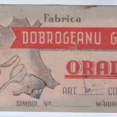 Eticheta veche-Reclama-perioada regalista-Fabrica Dobrogeanu Gherea-Oradea
