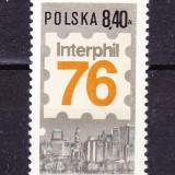 "Timbre POLONIA 1976 = EXPOZ. FILAT. INT. ""INTERPHIL '76"" PHILADELPHIA- SUA - Timbre straine, Stampilat"