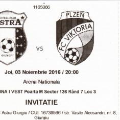 Bilet meci fotbal ASTRA GIURGIU - VIKTORIA PLZEN 03.11.2016
