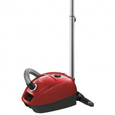 Aspirator cu sac Bosch BGL3B220, 4 l, Tub telescopic metalic, 650 W, Filtru Pure Air, Sistem Power Protect, Negru/Rosu