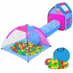 Tunel cu corturi de joaca model IGLU albastru - Casuta copii, 2-4 ani, Baiat, Bleumarin, Plastic
