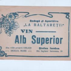 Eticheta veche-Reclama-perioada regalista-Vin Alb Superior,Bodega-La Baltaretii