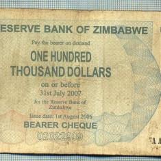 A1547 BANCNOTA-ZIMBABWE- 100 000 -2007-SERIA 44672034-starea care se vede - bancnota africa