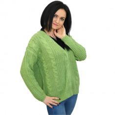 Pulover verde de dama, tricotat, cu capse, Bluhmod - Pulover dama