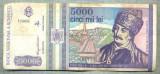 A1512 BANCNOTA-ROMANIA- 5000 LEI-1993-SERIA 0005-AVRAM IANCU-starea care se vede