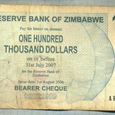 A1546 BANCNOTA-ZIMBABWE- 100 000 -2007-SERIA 2371494-starea care se vede - bancnota africa