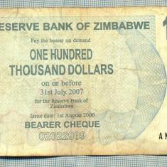A1541 BANCNOTA-ZIMBABWE- 100 000 -2007-SERIA 1783967-starea care se vede - bancnota africa