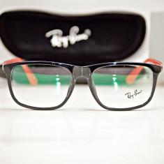 Rama de ochelari de vedere Ray Ban RB 7056 2000 negru lucios brat rosu, Unisex, Patrate, Plastic, Rama intreaga, Fashion