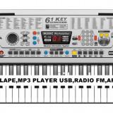 PROMOTIE! ORGA 61 CLAPE CU USB PLAYER, RADIO FM, AFISAJ, SUPORT, MULTIPLE ACCESORII.