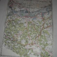 CALARASI-SILISTRA, 1928- HARTA LITOGRAFIATA IN CONFORMITATE CU NOUA IMPARTIRE