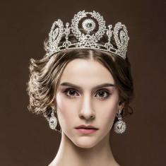 Set Coroana + cercei mireasa Vintage cu cristale tip Swarovski - Tiare mireasa