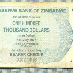 A1542 BANCNOTA-ZIMBABWE- 100 000 -2007-SERIA 4880316-starea care se vede - bancnota africa