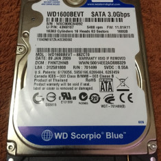 HDD laptop Western Digital - Hard disc WD 160GB (WD1600BEVT) - stare perfecta 7 ore functionare, 100-199 GB, SATA, 8 MB