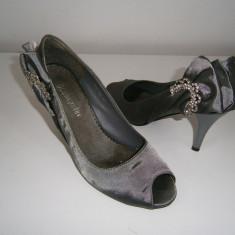 Pantofi dama, satin, gri metalizat, mar 37! - Pantof dama, Culoare: Din imagine, Cu platforma