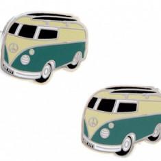 Butoni noi tema auto vw camper microbuz + cutie cadou, Inox