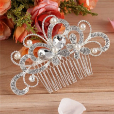 Tiara / pieptan voal / accesoriu par mireasa Butterfly cu pietre si cristale