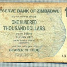 A1549 BANCNOTA-ZIMBABWE- 100 000 -2007-SERIA 7191988-starea care se vede - bancnota africa