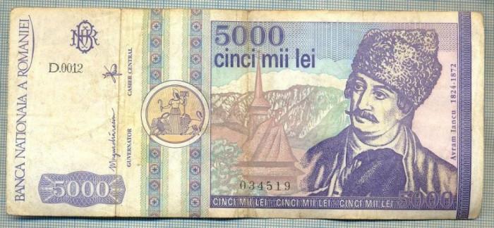A1511 BANCNOTA-ROMANIA- 5000 LEI-1992-SERIA 0012-AVRAM IANCU-starea care se vede