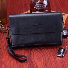 Borseta barbati business Giorgio Armani, elegant, piele naturala, Nou-Livr Curier