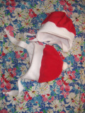 Caciula bebe, rosu cu alb, sarbatori, 43 cm