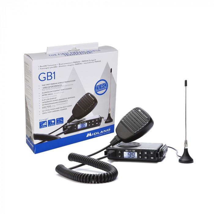 Resigilat : Statie radio PMR mobila Midland GB1 cu antena magnetica inclusa cod C1