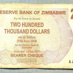 A1559 BANCNOTA-ZIMBABWE- 200 000 -2007-SERIA 5438943-starea care se vede