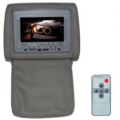 Resigilat : Tetiera cu monitor si fermoar, 7 inch culoare Gri, PNI 667C-G - Monitor Auto