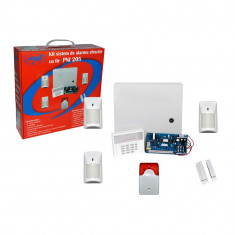 Resigilat : Kit sistem de alarma cu fir PNI 205 cu 3 senzori 1 contact magnetic si - Senzori miscare