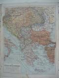Harta - Statele Balcanice - Primul Razboi Mondial ( 1914 - 1916 )
