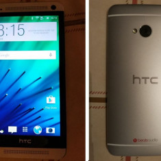 HTC One M7 Dual Sim, ca nou, in garantie pana la 16.10.2017+husă piele tip carte - Telefon mobil HTC One, Argintiu, 16GB, Neblocat