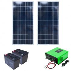 Aproape nou: Kit solar fotovoltaic hibrid PNI 2000VA/1000W, Invertor 2000VA, 2 pano