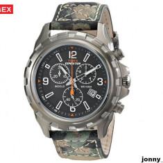 Ceas Timex Rugged Camouflage Cronograph cu indiglo Original 100% NOU - Ceas barbatesc Timex, Casual, Quartz, Inox, Piele, Cronograf