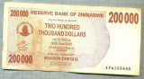 A1568 BANCNOTA-ZIMBABWE- 200 000 -2007-SERIA 6105445-starea care se vede