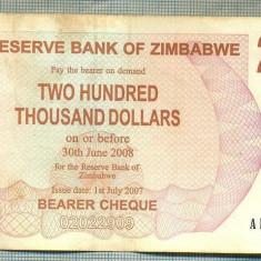 A1560 BANCNOTA-ZIMBABWE- 200 000 -2007-SERIA 2865938-starea care se vede
