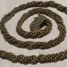 UNICAT Colier argint aurit VECHI purtabil infasurat in brau sau desfacut ELEGANT