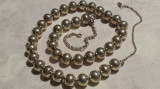 RAR Colier argint cu MARGELE argint mari VECHI Elegant efect Stralucitor MASIV