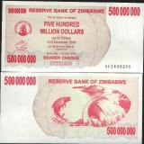 !!!  ZIMBABWE -  500.000.000  DOLARI  2008 - P 60  - UNC / BEARER  CHEQUE