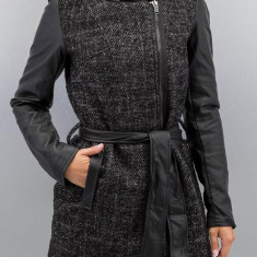 Palton cu gluga si maneci din piele sintetica - Only - art. 15120841 gri melange - Palton dama Only, Marime: 42, 40, 38