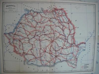 Harta - Romania - caile de comunicatie - 1946 foto