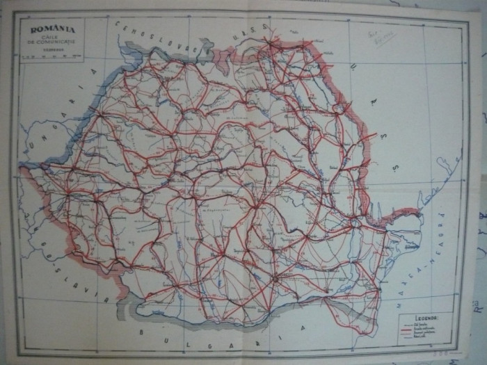 Harta - Romania - caile de comunicatie - 1946