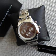 Ceas dama Casio French Connection Silver Lady Cronograph Original Mec. Seiko NOU, Casual, Quartz, Inox, Cronograf