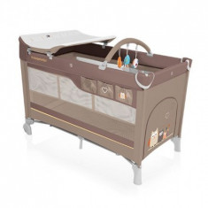 Patut Pliabil Cu 2 Nivele 09 Beige 2016 - Patut pliant bebelusi Baby Design, 120x60cm, Crem