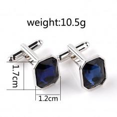 Butoni argintii cristale albastre metalici + ambalaj cadou, Inox