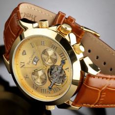 Ceas automatic Yves Camani Navigator Gold original - Ceas barbatesc Yves Camani, Lux - elegant, Mecanic-Automatic, Placat cu aur, Piele, Data